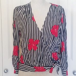 MADEWELL Crop Wrap Top striped floral M
